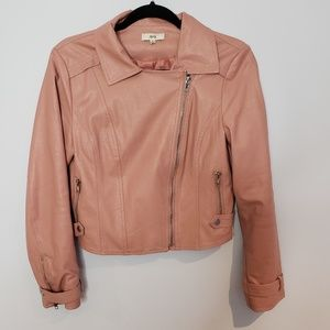 Ava Nude Pink Faux Leather Bomber Jacket
